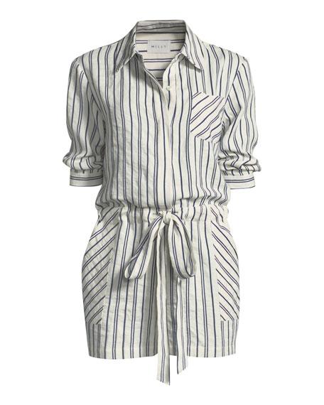 Charlie Striped Linen-Blend Romper