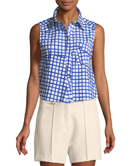 Milly Leah Window-Check Sleeveless Top and Matching Items