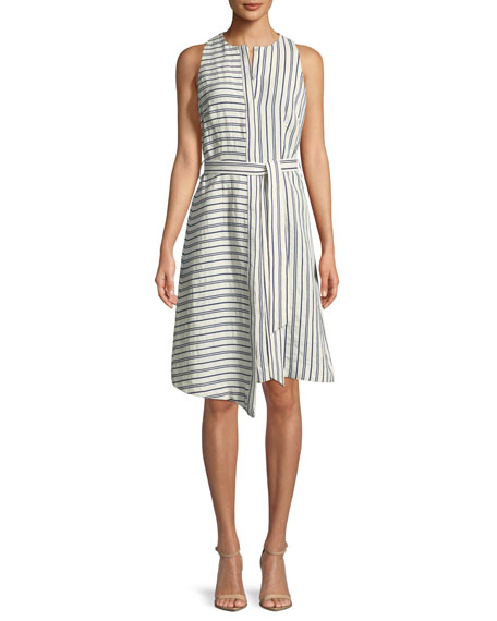 Milly Morgan Narrow-Stripe Sleeveless Dress