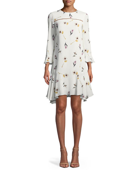 Shoshanna Michie Floral Crepe A-Line Dress
