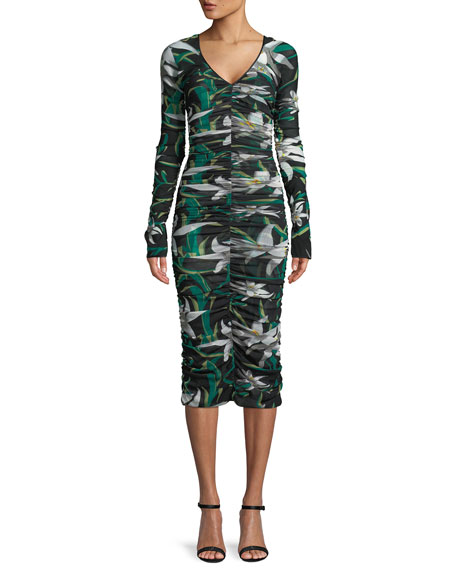 Diane von Furstenberg Long-Sleeve V-Neck Ruched Mesh Midi