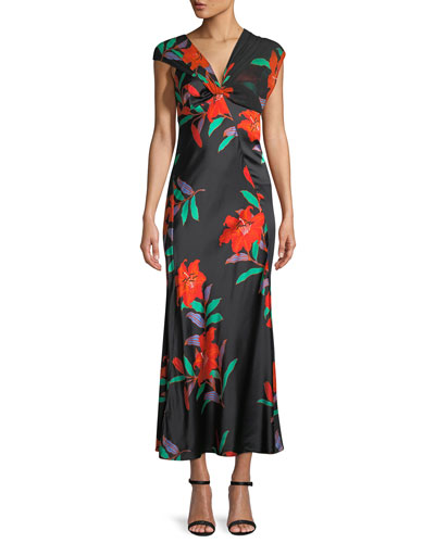 Floral Silk Asymmetric-Sleeve Knotted Dress