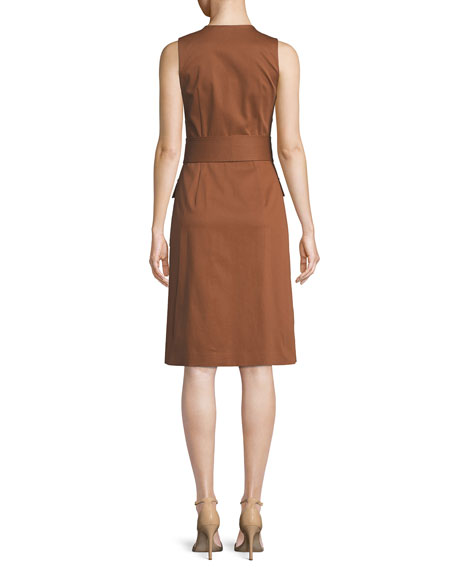 Sleeveless Zip-Front Belted Dress