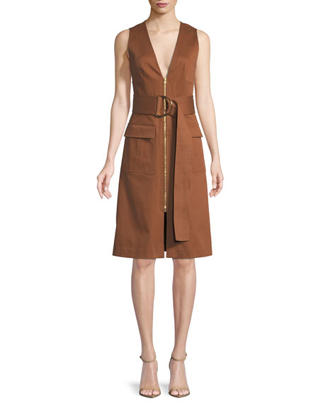 Diane von Furstenberg Sleeveless Zip-Front Belted Dress
