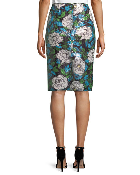 Sequin Floral Pencil Skirt