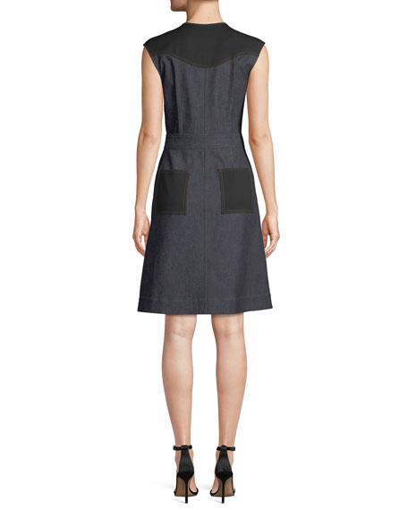 Tailored Sleeveless Zip-Front Dress