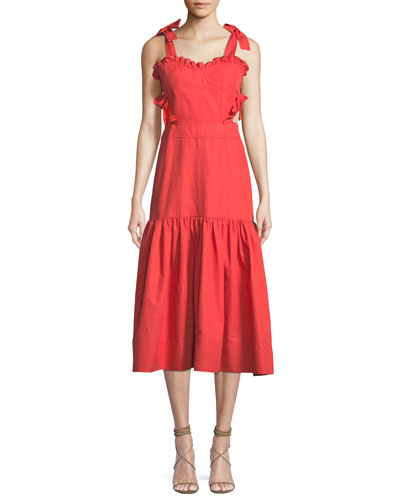 Sleeveless Cotton-Linen Midi Dress with Cutout Sides