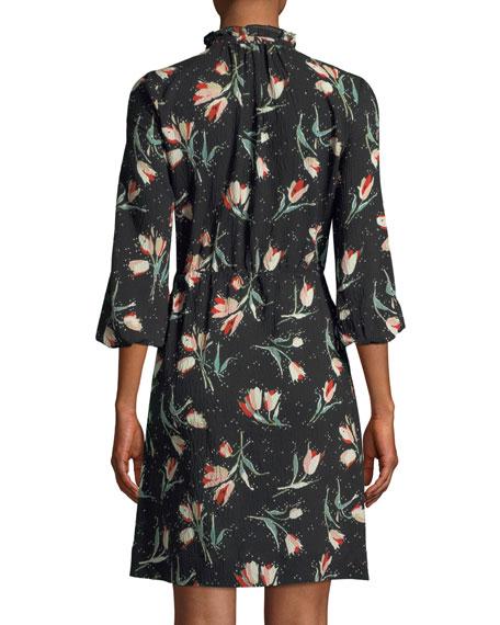 Long-Sleeve Button-Front Tie-Waist Floral-Print Dress