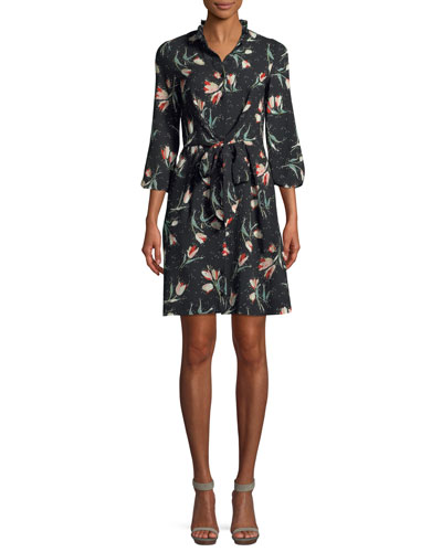 Long-Sleeve Button-Front Tie-Waist Floral-Print Dress
