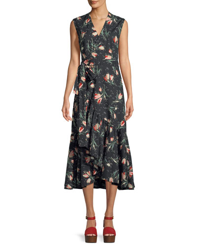 Sleeveless Floral-Print Cotton Wrap Dress