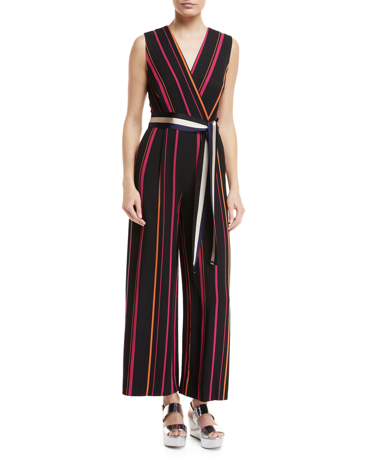 c7511dd3a76 Diane von Furstenberg Sleeveless Crossover Wide-Leg Striped Jumpsuit ...
