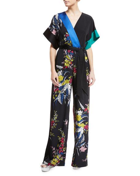 Diane von Furstenberg Short-Sleeve Floral-Print Wide-Leg Wrap