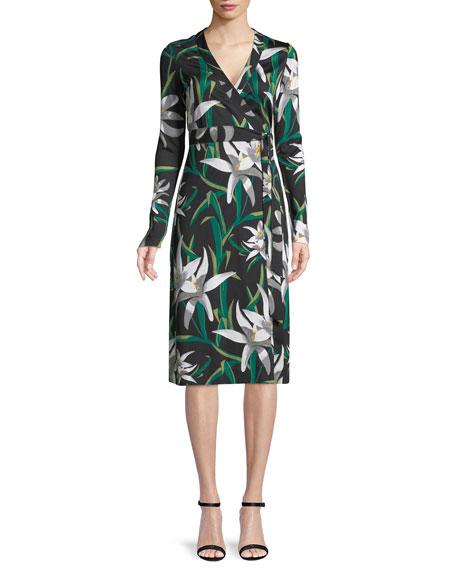Cybil Lily Floral-Print Silk Wrap Dress