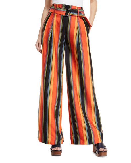 Wide-Leg Belted Striped Silk Pants