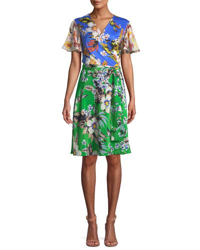 Flutter-Sleeve Floral-Print Silk Wrap Dress
