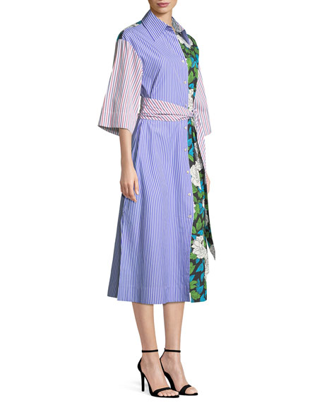Multipattern 3/4-Sleeve Belted Shirtdress