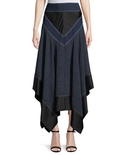 Midi Handkerchief Square-Hem Skirt