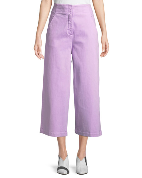 High-Waist Wide-Leg Cropped Jeans