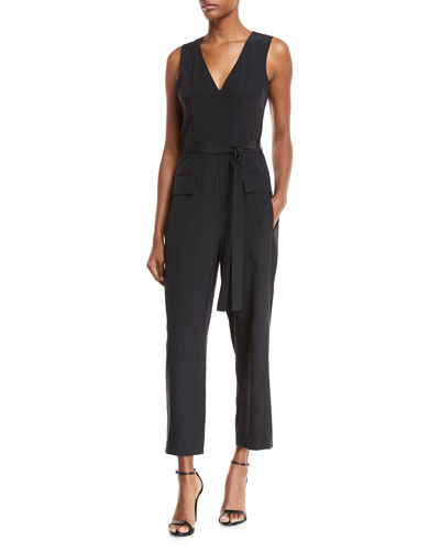 V-Neck Sleeveless Straight-Leg Silk Jumpsuit