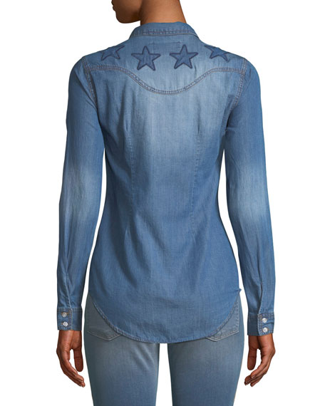 Button-Front Long-Sleeve Denim Shirt with Stars Embroidery