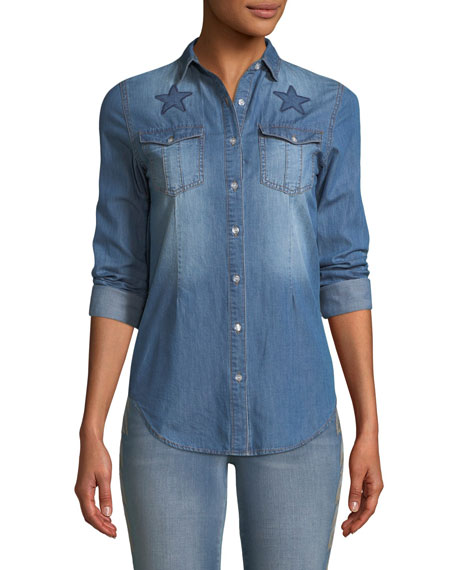 Etienne Marcel Button-Front Long-Sleeve Denim Shirt with Stars