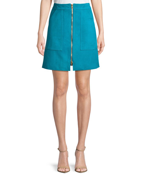 Diane von Furstenberg Patch Pocket Zip-Front Mini Skirt