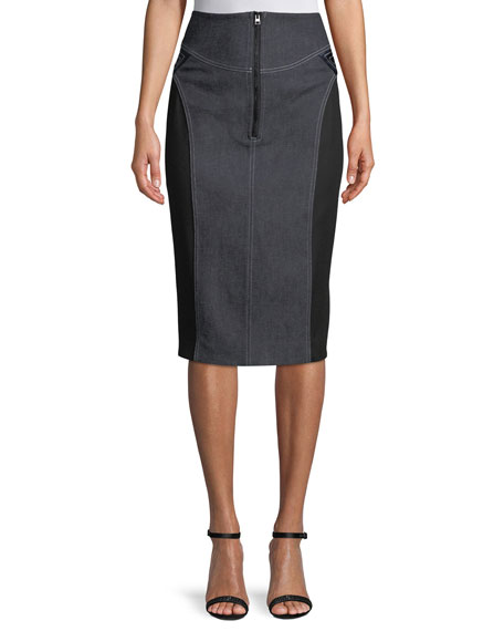 High-Waist Zip-Front Knee-Length Jean Skirt