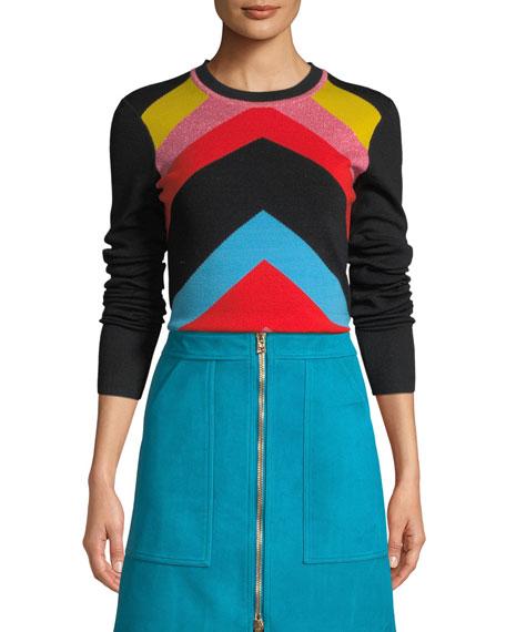 Rainbow Chevron-Stripe Crewneck Sweater