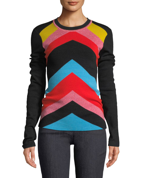 Diane von Furstenberg Rainbow Chevron-Stripe Crewneck Sweater and