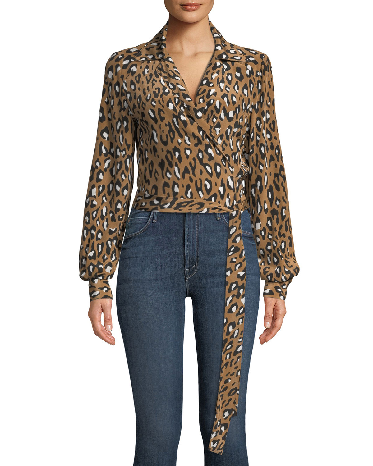 80c98ec63783eb Diane von Furstenberg V-Neck Animal Wrap Silk Blouse