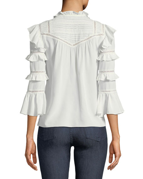 Long-Sleeve Button-Front Silk Lace Top