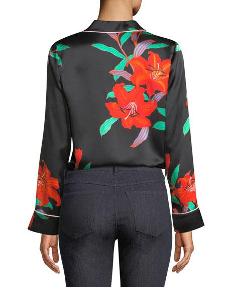Long-Sleeve Silk Pajama Top