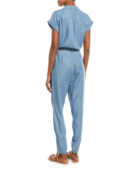 Short-Sleeve Wrap-Front Skinny-Leg Chambray Jumpsuit