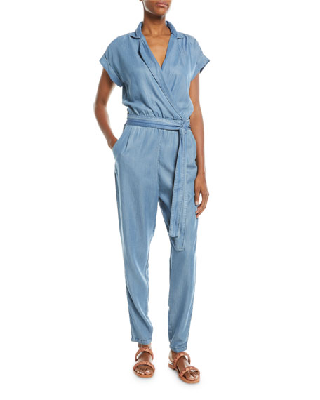 ETIENNE MARCEL Short-Sleeve Wrap-Front Skinny-Leg Chambray Jumpsuit in Blue