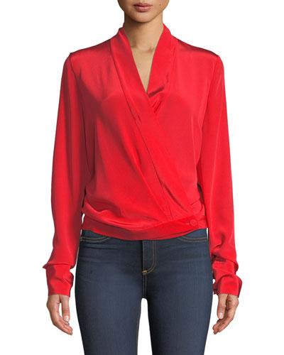 Crossover Long-Sleeve Silk Blouse