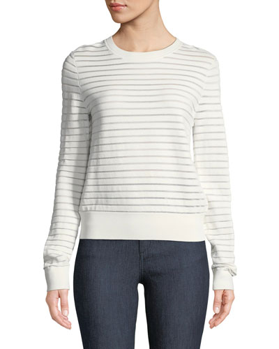 Crewneck Striped Knit Pullover Top