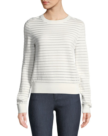 Diane von Furstenberg Crewneck Striped Knit Pullover Top