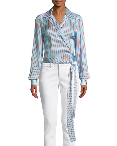 Diane von Furstenberg Striped V-Neck Wrap Blouse