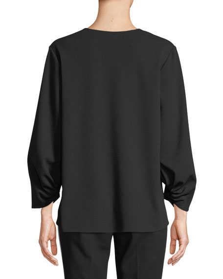 V-Neck Long-Sleeve Crepe Top