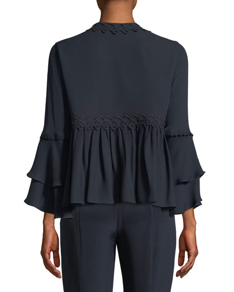 Nessa Ruffled Open-Front Silk Jacket
