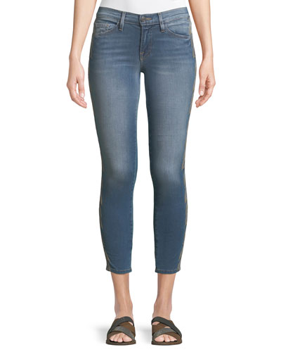 Embroidered-Strip Skinny-Leg Ankle Jeans