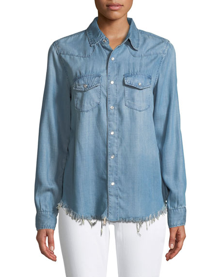 Button-Front Chambray Shirt with Floral-Embroidery