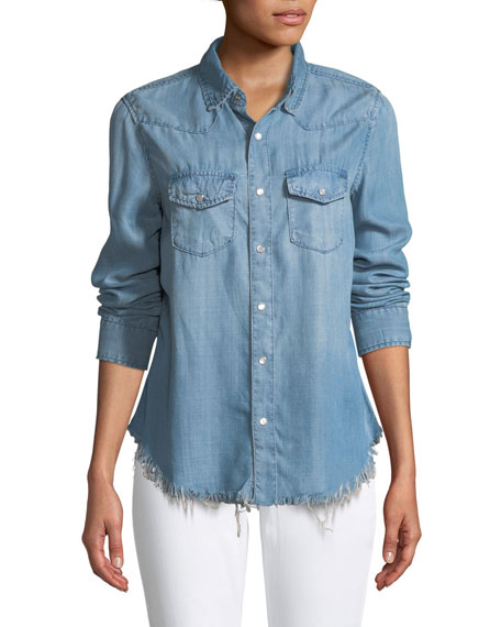 ETIENNE MARCEL BUTTON-FRONT CHAMBRAY SHIRT WITH FLORAL-EMBROIDERY