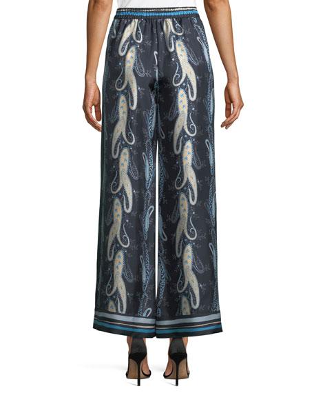 Delanie Paisley-Print Silk Pants
