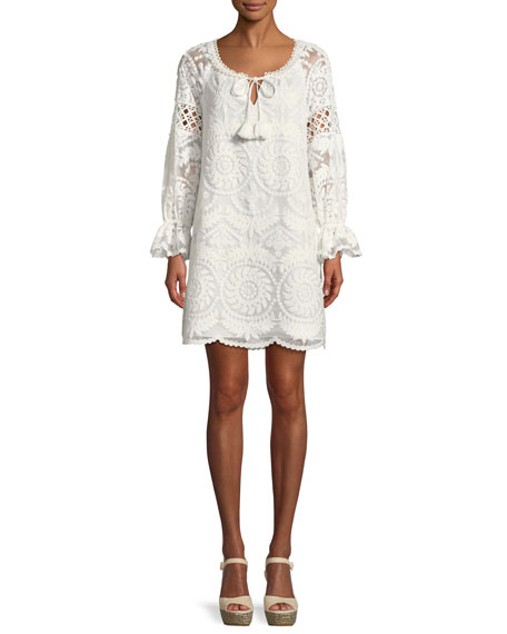Brie Embroidered Silk Shift Dress