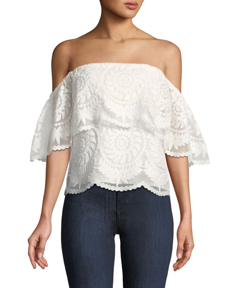 Ciara Medallion-Embroidered Off-the-Shoulder Blouse