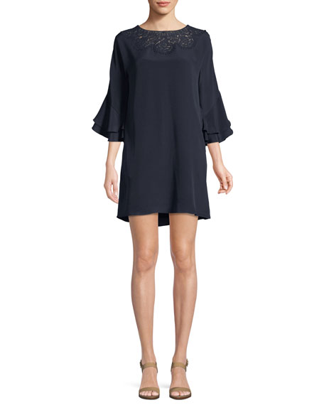 Kobi Halperin Fatima Lace-Yoke Silk Dress