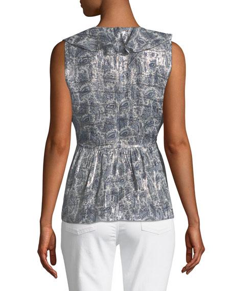 Kaiya Metallic-Print Silk-Blend Blouse