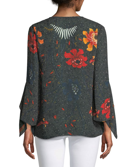 Rubie Floral-Print Silk Blouse