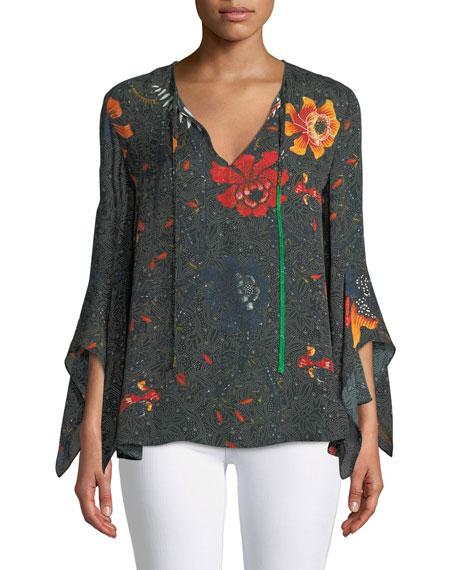 Kobi Halperin Rubie Floral-Print Silk Blouse